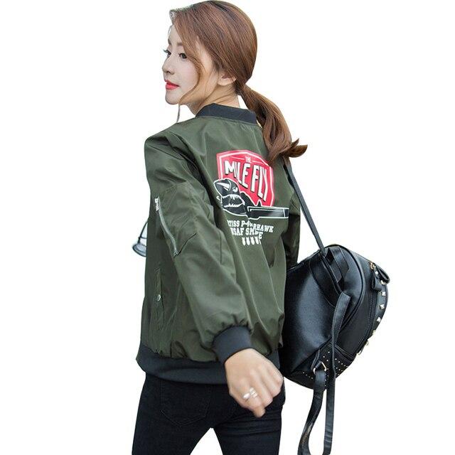 Autumn Satin Bomber Jacket Women Army Green Winter Basic Jacket Coat Casual Baseball Jacket Outwear