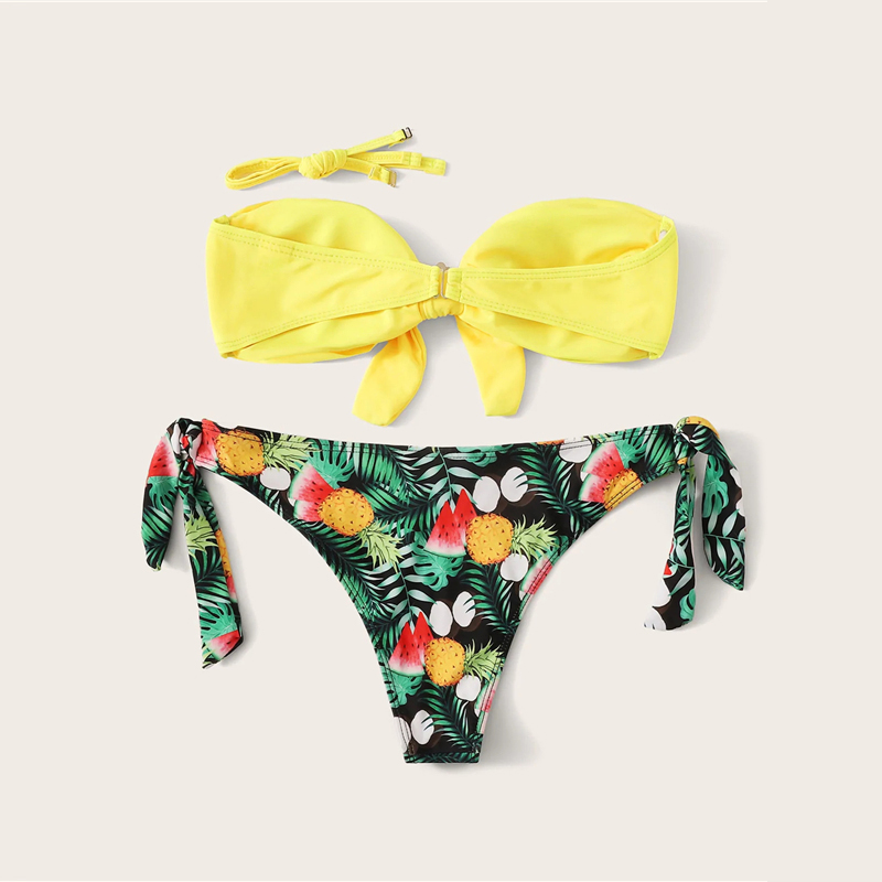Romwe Sport Bikinis Set Knot Front Halter Top With Floral Tropical Print Tie Side Bottoms Swimsuit Women Summer Sexy Swimwear 18
