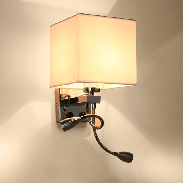 Modern Wall Lamp Bedroom Wall Sconce Fabric Flexible Bedside - Bedroom wall reading light fixtures