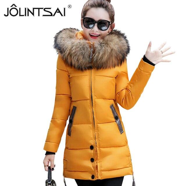 251b4844fd Gola de pele de Inverno Mulheres Jaqueta de Inverno Médio e Longo Casaco  Com Capuz Feminino
