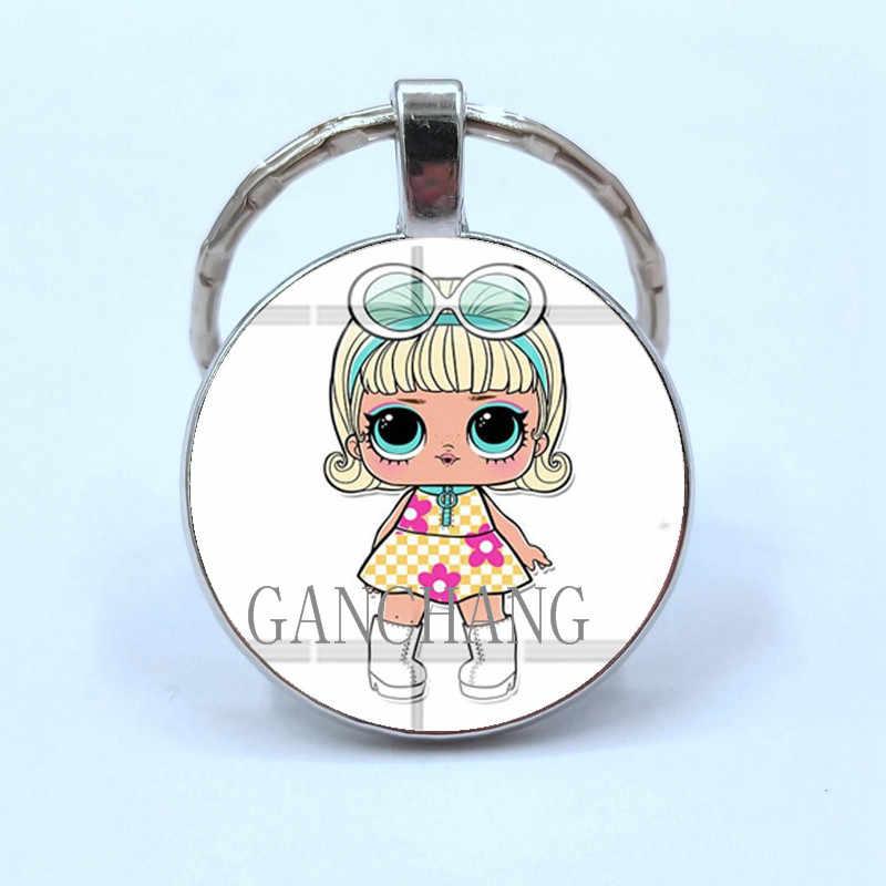 Criativo Boneca bebê Surpresa Tempo gem pingente de vidro liga anel chave chaveiro Criativo presente de Moda pendurado acessórios