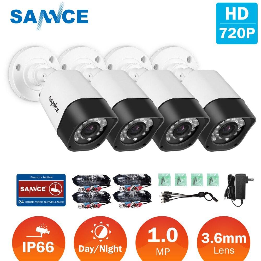 SANNCE 4 pcs 720 p HD 1MP TVI Sécurité CCTV Caméras intérieur extérieur Étanche IR nuit vision blanc caméra dans kit de Surveillance