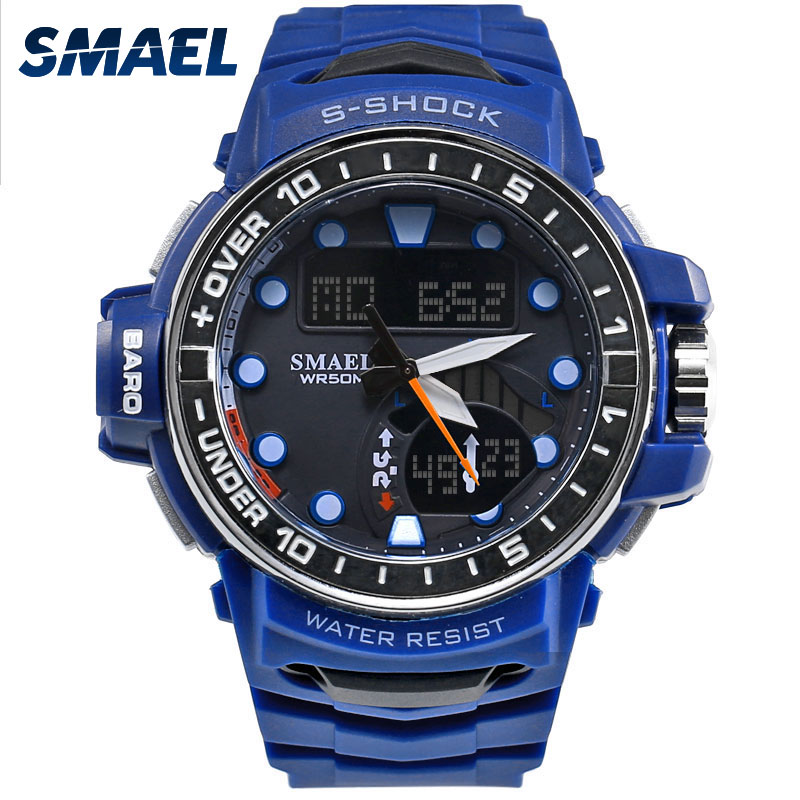 Men's Watches Waterproof SMAEL Brand Blue Color Dual Digital Display Watches Chronograph Auto Date Outdoor Sports Watches 1626
