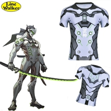 Line Walker fashion T-shirt OW cosplay Srever Genji Watch Over Men Tee clothes close-fitting T Shirt compression shirt