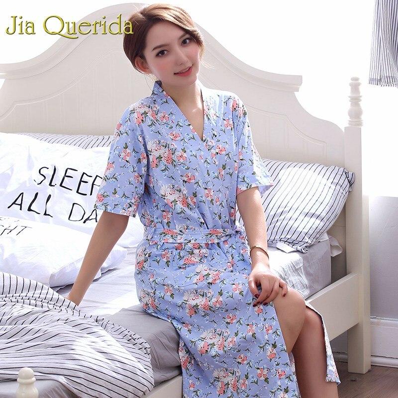 New Ladies' Robe Shorts Bathrobe Thin Summer Home Clothing Women Sleepwear Leisure Lounge Wear Lingerie 100% Cotton Floral Robe