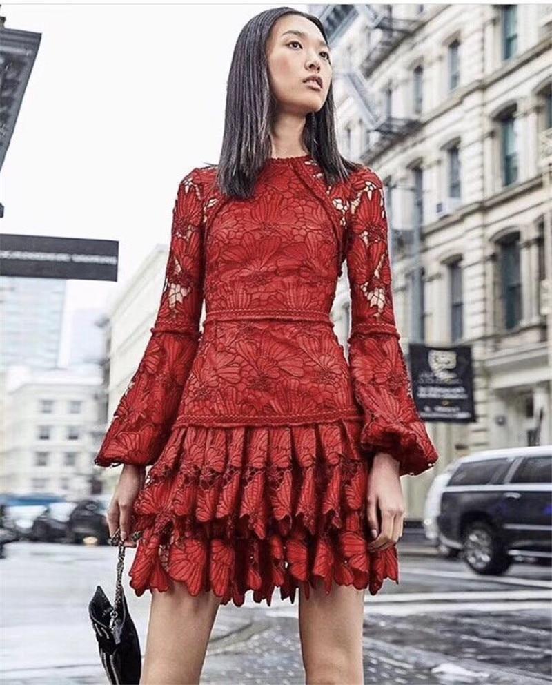 2018 nuevo vestido de encaje rojo de invierno-in Vestidos from Ropa de mujer    3