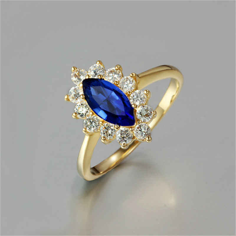 Olive Blue Red Zircon Crystal Finger Rings New Fashion Wedding Jewelry Charm Engagement Ring Gold Plate Party Birthday Gift