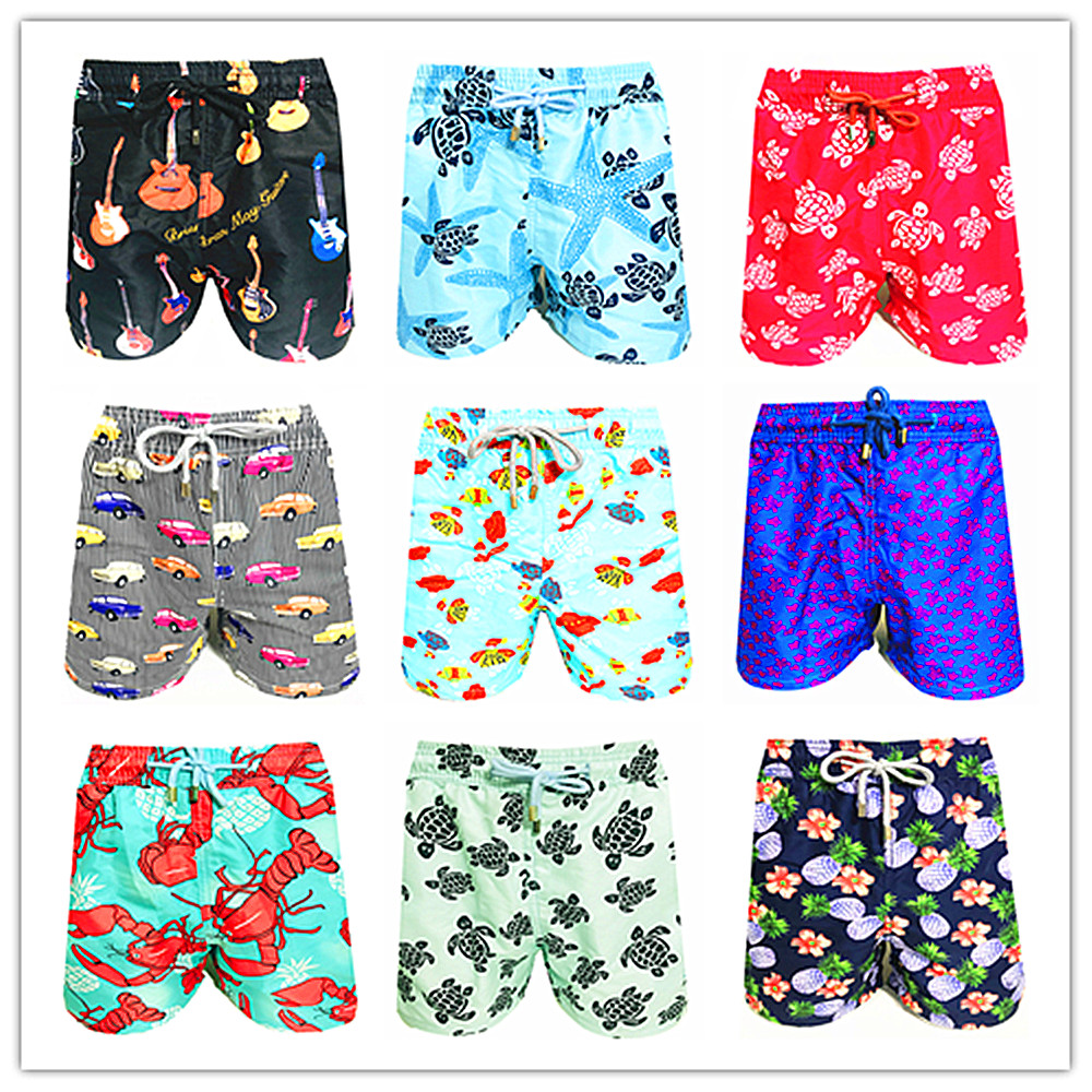 Brand BREVILE PULLQUIN   Board     Shorts   Men Turtle Print 100% High Quality Bermuda Beach   Shorts   Masculina Pull Quick Dry Swimwear In