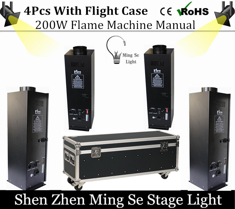 4pcs 200W Four Corner stage flame machine Spray Fire Machine Dmx Flame Projectors Stage Equipment DMX Fire Machine with case
