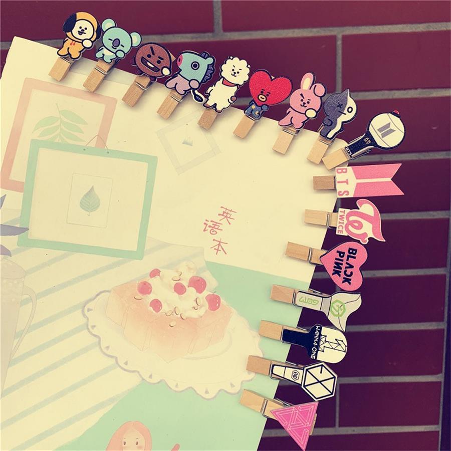 Kpop Bts Bt21 Exo Blackpink Got7 Twice Lomo Card Photo Paper Cute Wooden Craft Clips 5pcs Set