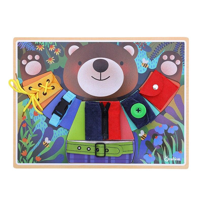 Petit ours portant un entraînement de base des compétences de la vie jouet puzzle pour enfants pour garçons et filles en bois bouton ceinture bande jeu de pratique