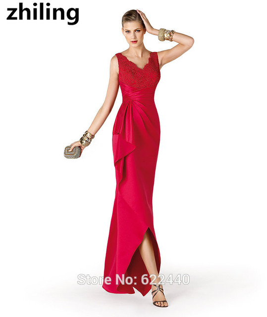 Red Applique V neck Evening Dresses High Low Prom Dresses Long Back ...