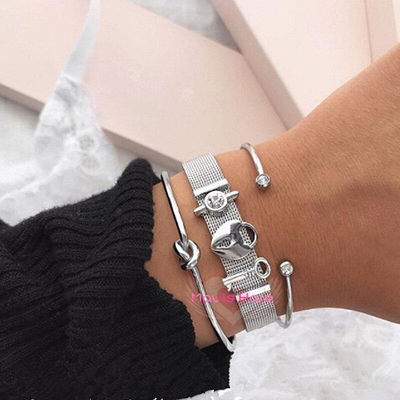 Mavis Hare Silber Mesh-Armband Armband mit Lock & Key & Kristall Rutsche Charme und Kristall Manschette Armreif und Knoten armband als geschenk
