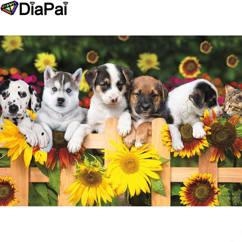 DIAPAI Diamond Painting 5D DIY 100 Full Square Round Drill quot Animal dog flower quot Diamond Embroidery Cross Stitch 3D Decor A18560 in Diamond Painting Cross Stitch from Home amp Garden