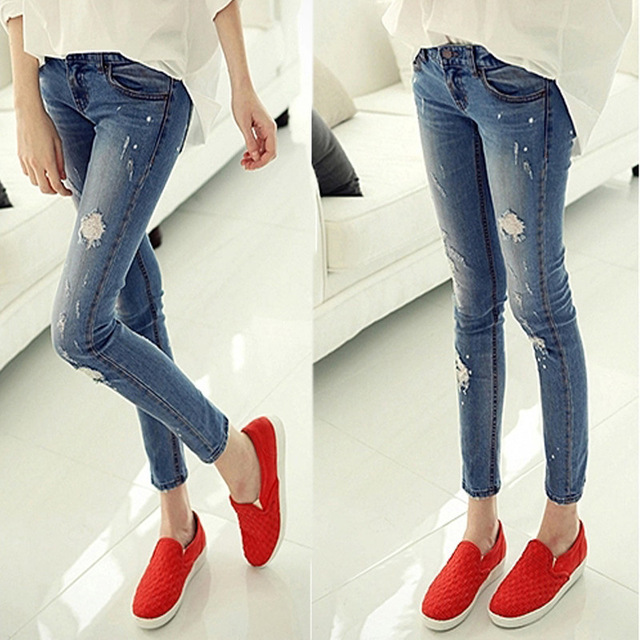 2018 Blue During Waist Holes   Jeans   Woman Skinny Holes   Jeans   For Women Boyfriend   Jeans   For Women Elastic Blue Ripped   Jeans