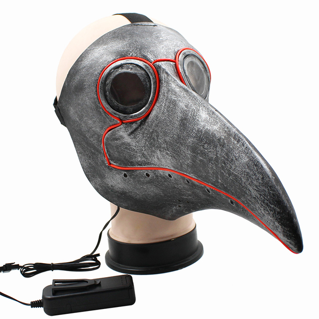 Retro Steampunk Plague Bird Doctor Cosplay Mask Latex LED Funny Event Holiday Halloween Party Costume Props