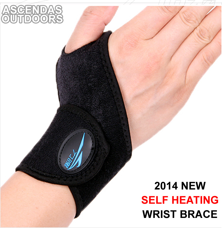 2014 New Free Shipping 1 Pair Self heating Wrist Support,Mini Portable Elastic Wrap Strap Wrist Brace Support