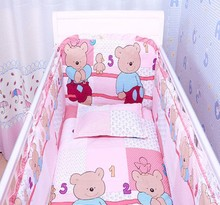 Promotion! 6pcs Pink cotton cot bumper, home nursery bed linen bedding set,include (bumpers+sheet+pillow cover)