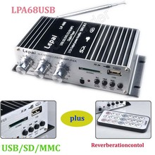 15WX2 USB SD DVD CD FM MP3 digital player car auto amplifier A68USB motorcycle 2ch output