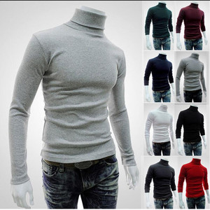 autumn and winter new trend men's sweater men's high collar solid color casual sweater men's slim knit pullover(China)