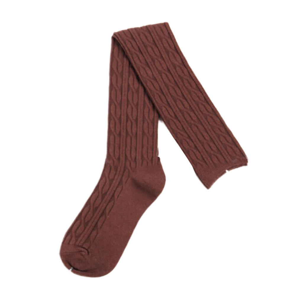 Woman Wool Braid Over Knee Socks Thigh Highs Hose Stockings Twist Warm Winter