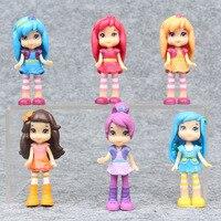 New Cute Cartoon 6pcs Set Strawberry Shortcake Girls Action Figure Toys 7 Cm PVC Princess Dolls
