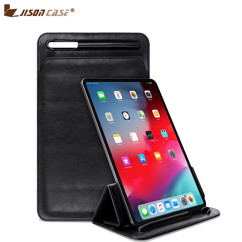 Jisoncase Leather Sleeve Bag For iPad Pro 11 inch 2019 Case Magnetic Standing Folding Cover for New Version Apple Pen 2019