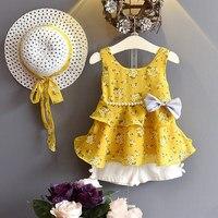 Детские летние костюмы 2019 года, Детские комплекты одежды без рукавов с бантом и цветочным узором для девочек, Короткие штаны с шапочкой, ком...