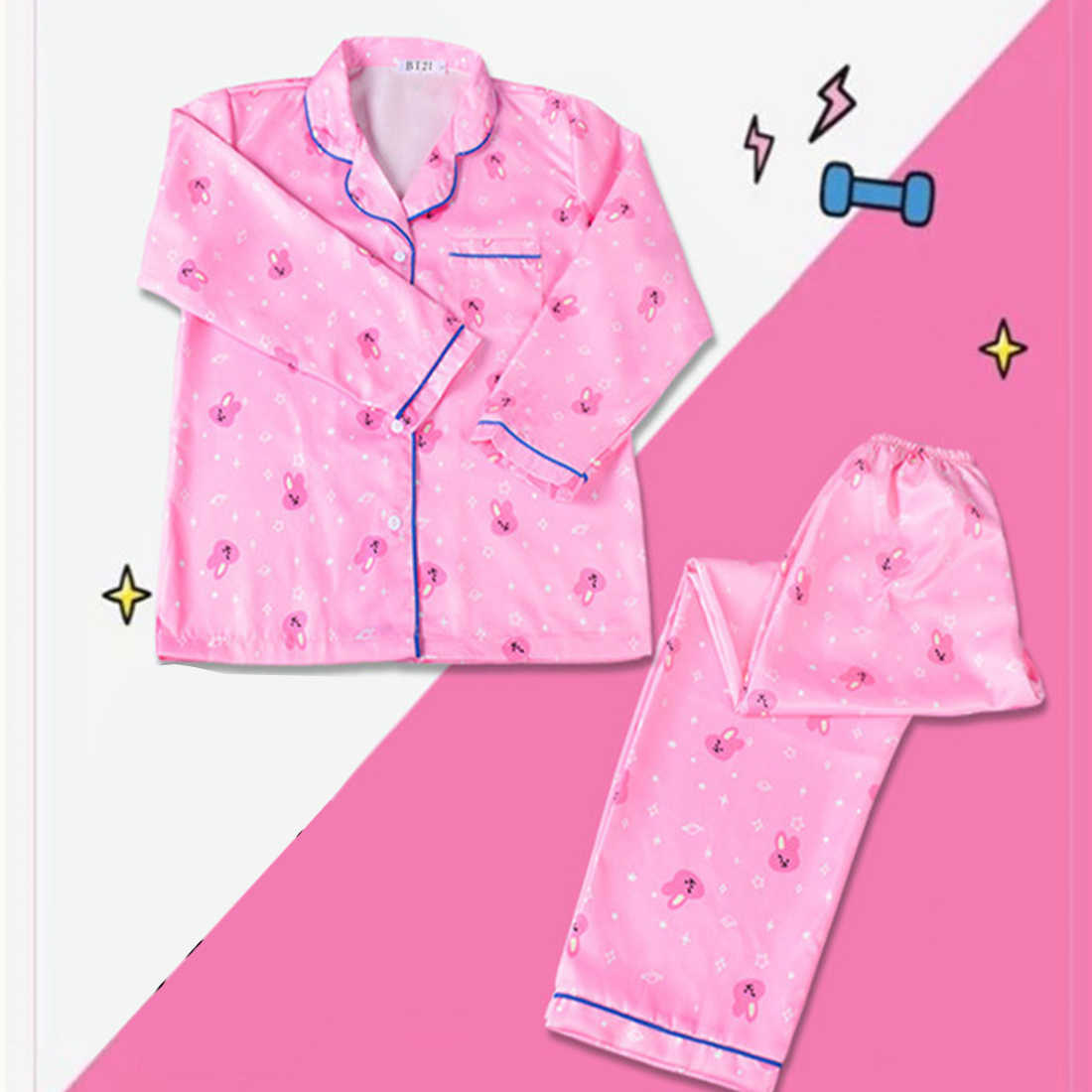 New Fashion 2 Piece Set Women Long Sleeve Kpop Pajamas Sets Female Harajuku Cartoon Shirts and Pants Kawaii Clothes Bedgown
