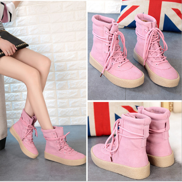 Genuine Leather Hidden Wedge Heel Lace Up Martin Boots Winter Super Warm Plush Snow Boots