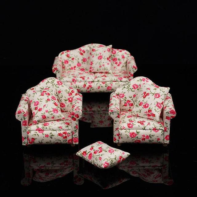 Doll House Floral Miniature Fabric Sofa and Chairs 3 pcs Set