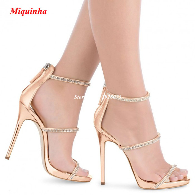 Rose Gold Crystal Three Straps Stiletto Heels Hot Selling Platforms Sandals  Booties High Heels Pumps Dress Party Women Shoes 7700b611fa6d