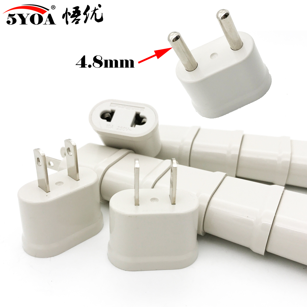 4.8mm US USA EU EURO Europe Travel Power Schuko Plug Adapter Charger Converter USA Converter AC Outlet Electrical Socket