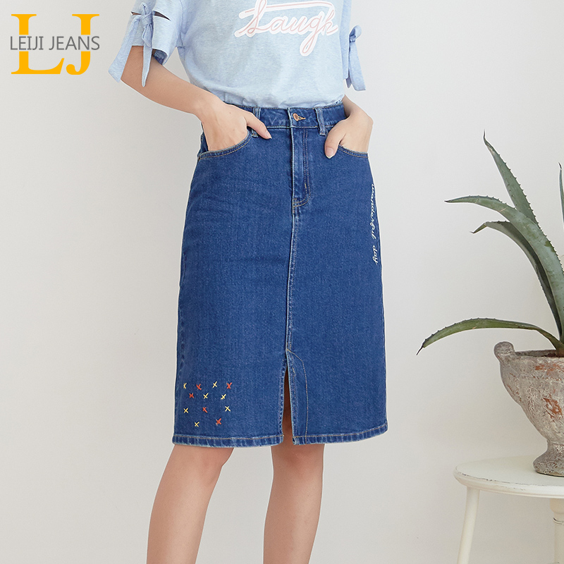 LEIJIJEANS New Arrival All Season Stretchy Knee-length Embroidery Denim Skirts Plus Size Fashion Blue A-line Bule Women Skirts
