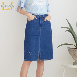 Image 1 - LEIJIJEANS New Arrival All season stretchy Knee length Embroidery Denim Skirts Plus Size Fashion Blue A line bule Women Skirts