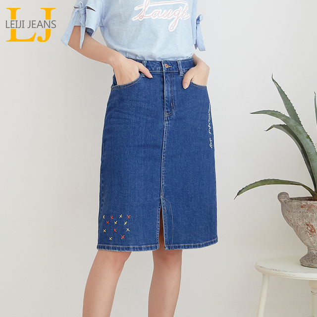 LEIJIJEANS New Arrival All season stretchy Knee length Embroidery Denim Skirts Plus Size Fashion Blue A line bule Women Skirts