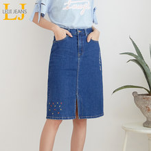 LEIJIJEANS New Arrival All season stretchy Knee-length Embroidery Denim Skirts Plus Size Fashion Blue A-line bule Women Skirts(China)