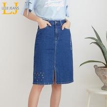 LEIJIJEANS New Arrival cały sezon rozciągliwe do kolan hafty spódniczki dżinsowe Plus rozmiar modne niebieskie spódnice damskie bule