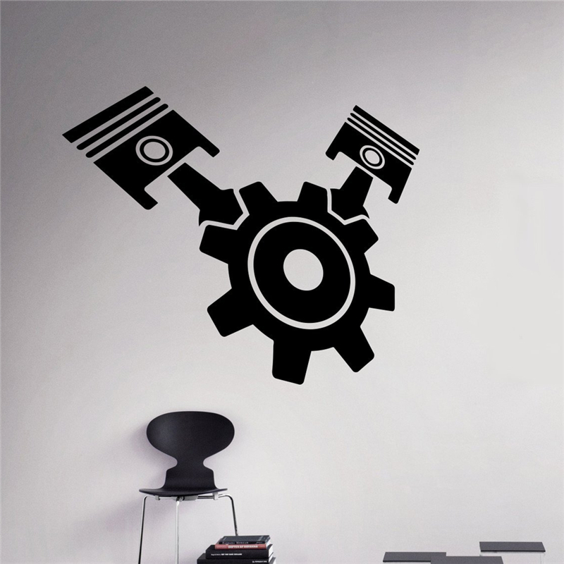 Gear Pistons Wall Sticker Engine Motor Vinyl Sticker Home ...