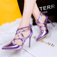 Sexy High Heels Pumps Red Gold Women Fashion Black Pointed Shoes Thin High Heeled Silver Sandals