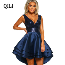 QILI Flash Sequined Women Dress Sexy V Neck Sleeveless Patchwork Ruffles Asymmetrical Mini Dresses Elegant Party Female