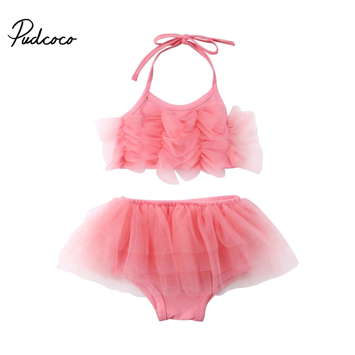 Pudcoco Newborn Baby Girl Clothes Sleeveless Tulle Halter Tops+Ruffle Tutu Shorts Pants Lace Infant Children Clothing 2pcs