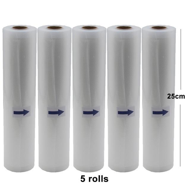 5 Rolls/Lot Vacuum Bag Heat Sealer Food Saver Paker Bags Saran Wrap Food Packing Storage Bags 25cm*500cm