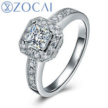 hot deal buy zocai 2014 new arrival 100% natural diamond 0.60 ct in total 18k white gold diamond engagement women ring fine jewelry