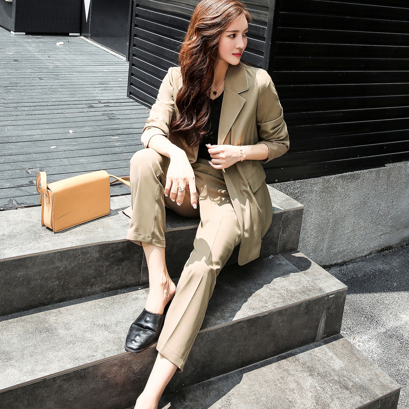 BGTEEVEER Bandage Pant Suits for Women Turn down Collar Blazer Straight Pants Female Suits Fashion Work