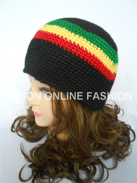 Jamaican Rasta Hat Tri-Color Knit Crocheted Tam Beanie Cap Adult Size Black  Red Yellow Green bbf7fb8e290