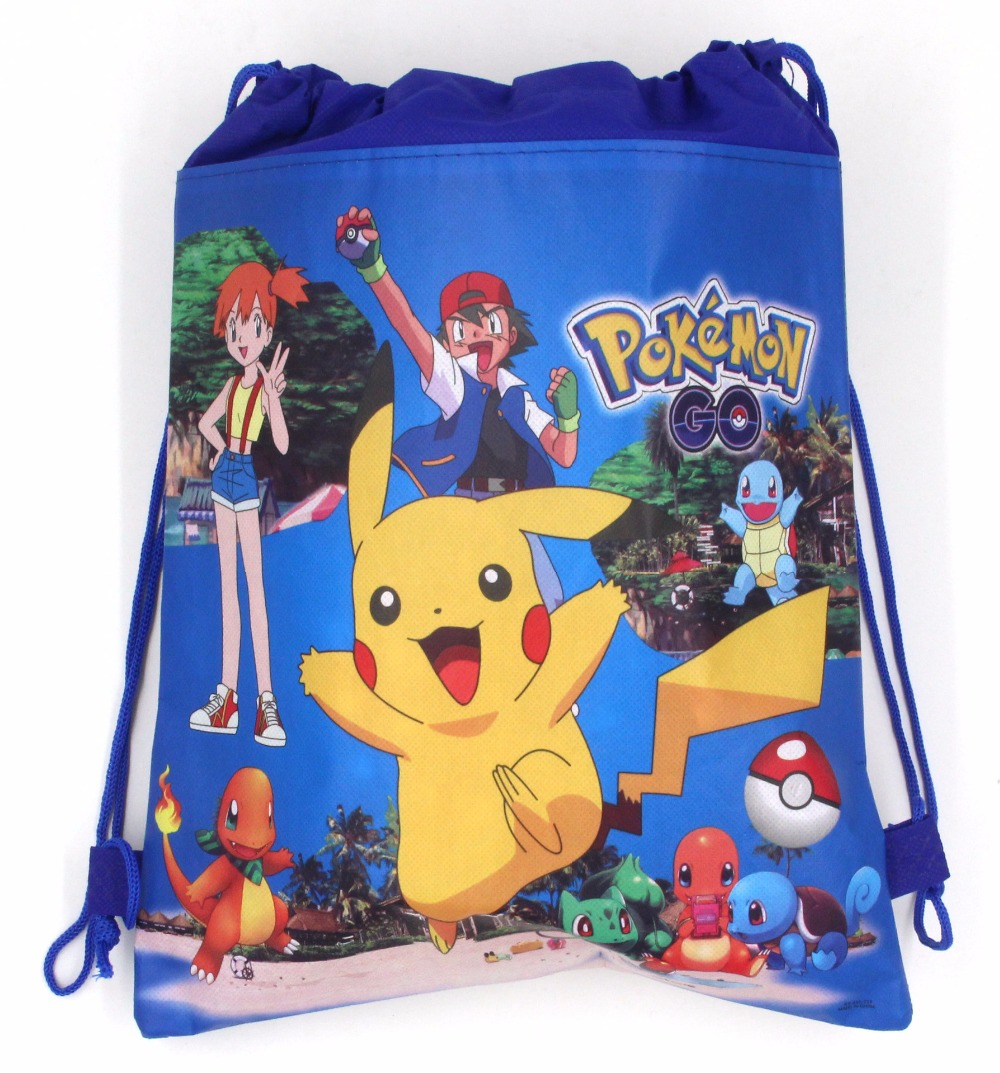1PCS Pokemon Go Decoration Birthday Party Soy Luna Non-Woven Fabric Drawstring Lovely Gift Bags Pikachu Supplies