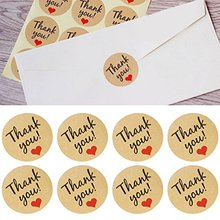 150pcs Round Thank You Sticker,Kraft Paper Decoration  Hand Made Gift box label with Red Heart, party