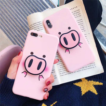 For iphone X XS Max XR Case Fashion Cute Pig Nose Soft TPU Phone Strap Rope 6 6s 7 8 plus 5 5S Back Cover