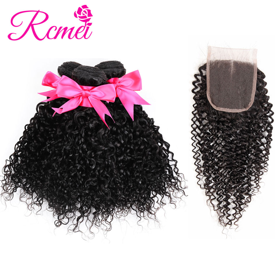 4 Bundle Deal Peruvian Kinky Curly Hair Bundle With Closure NonRemy Hair Weaving Afro Bundle Hair Natural Black For Women Rcmei